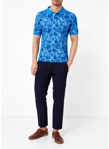 Adze Çiçekli Polo Yaka Tişört Mavi